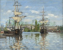 "PANEL WELUR TAPICERSKI ""Ships Riding on the Seine at Rouen"" 45 X 37 cm"