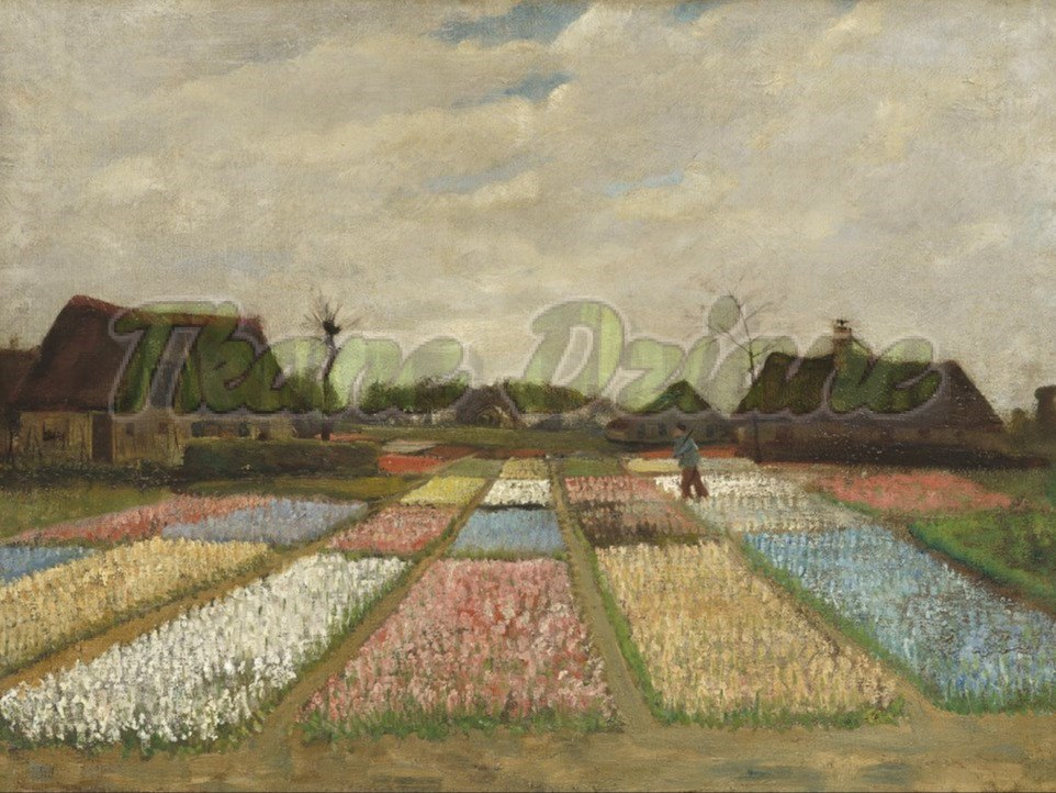 "PANEL WELUR TAPICERSKI ""Flower Beds in Holland"" 67 X 49 cm"